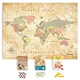 World Map Cork Board kit: Push Pin World Map with Pins World Flags, Food Stickers, for Travelers
