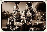 Bike Motorrad Pin Up Girl Tattoo Letrero de Metal Placa de Metal Signo de Arqueado Metal Tin Sign 20...