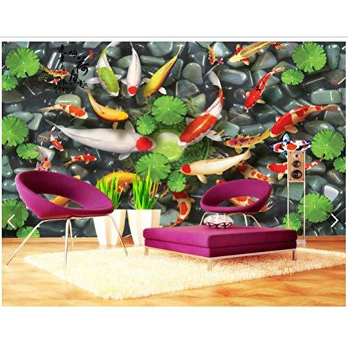 Pbbzl aangepaste 3D foto behang 3D muur muurschilderingen behang Koi vis spelen Hechi Fresh Tv bank achtergrond 3D woonkamer behang 350 x 250 cm.