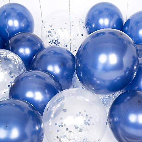 Latex Navy Blue Balloons Silver Confetti Balloons12inch Pack of 50 for Boy Baby Shower Denim and Diamonds Decorations Bachelorette Wedding Outer Space Birthday Party Decor