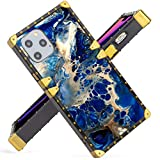 for iPhone 11 Pro 5.8 Inch Case 2019 Release Blue Marble Design Square Soft TPU Wrapped Edges and Hard PC Back Stylish Classic Retro Cover