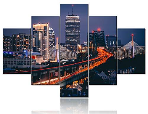 Cuadro de paisaje urbano de Boston en la noche para sala de estar, 5 piezas de lienzo multipanel contemporáneo para decoración del...