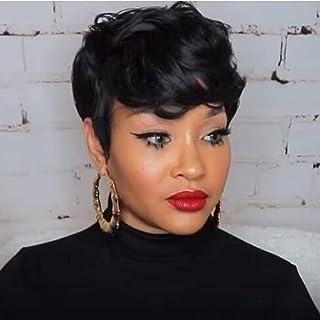 MELANNA Short Pixie Human Hair Wigs Layered Cut Black Human Hair Short Bob Wigs for Black Women Human Hair