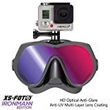 Diving Mask for GoPro Cameras Black Silicone UV Ray Blocking Tint - Real Frameless - Built-in Stainless Steel Camera Mount - Two Mask Straps & High Torque Mounting Screw - GoMask Ironmann by XS Foto (MA610RM)