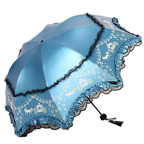 Princess Umbrella Double lace, Vinyl - Coated Sunscreen Folding Umbrella, The Umbrella Goddess Portable UV Protection, UPF50 + (Color : A-Blue)