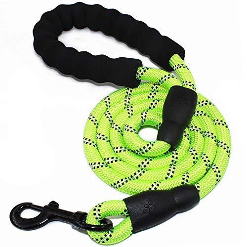 5 FT Starke Hundeleine mit Bequemen Gepolsterten Griff, Starke Reflexnähte der Trainingsleine für Sicherheit Nachts, eignet für Alle Größe Hunde (Grün)