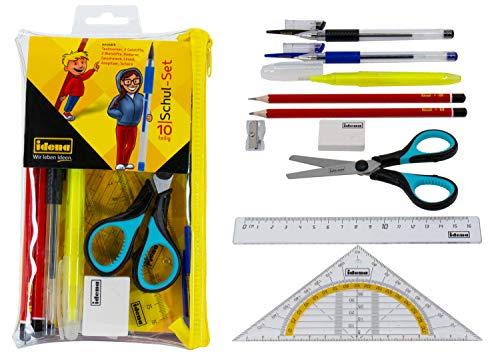 Idena 20094 Schulset mit Bleistiften, Lineal, Gelstiften, Geodreieck, Schere und weiterem Zubehör im Etui, 10 teilig, ideal für Schule und Uni, bunt