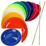 SCHWABMARKEN Piatti da giocoliere Colorati con Bacchetta in Legno o con Bacchetta in plastica, Vari Colori e quantità Differenti, Venduto
