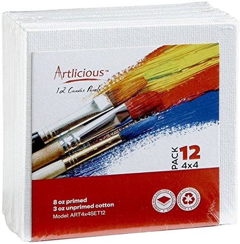 Artlicious Canvas Panels 12 Pack - 4 inch x 4 inch Super Value Pack - Artist Canvas Boards for Painting
