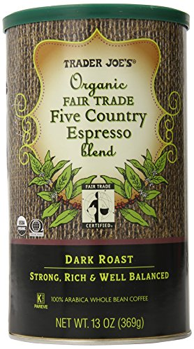 TRADER JOES Organic Fair Trade Five Country Espresso Blend