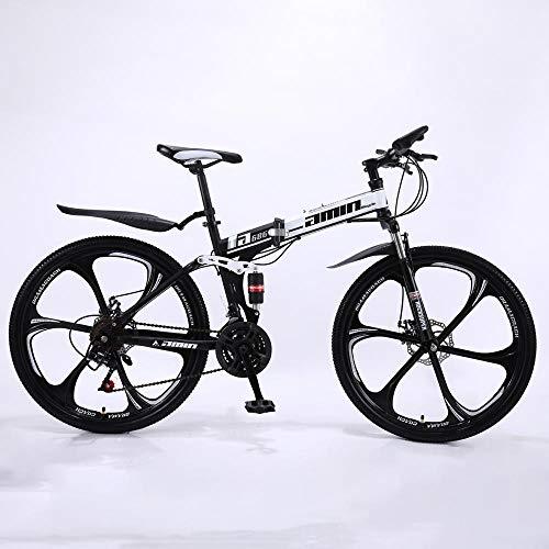 Fahrrad Stahlrahmen,Fahrrad 26 Zoll Mountainbike,24/27 Gang schaltung, vorderradgabelaufhÄngung mit verriegelungsfunktion, doppelscheibenbremsen und integrierten Anti-rutsch-Reifen -White_24_Speed