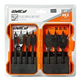 Wellcut Black Edition 7 Pieces Flat Wood Drill Spade Bit Set 10mm - 32mm Hex Shaped