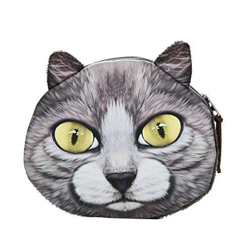 Borsellino/Portamonete/Portafoglio Soffice e Morbido per Ragazze e Bambini, con design animali Gattini teneri, Occhioni di Gatto e Orecchie di Gatto (Colore: Occhi Gialli)