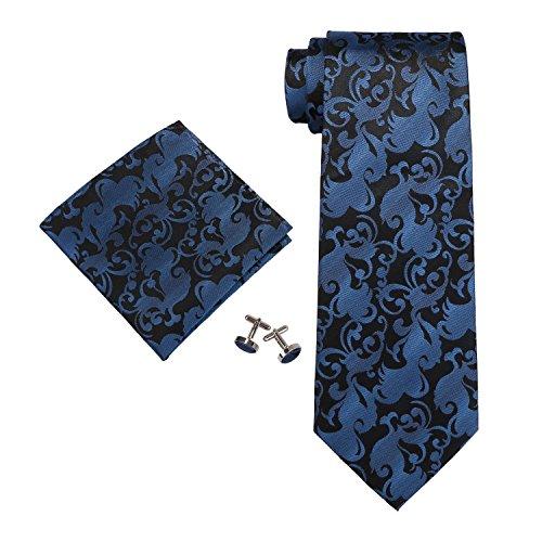 Landisun Paisley Set De Cravates, Black (89F Navy Blue Black), Small (Taille Fabricant:3.25W x 59L) Homme