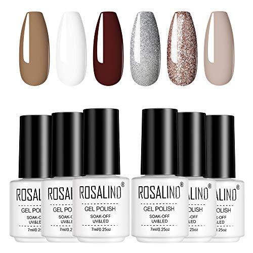 ROSALIND 7ML Smalto Semipermanente Glitter e Pastello,6pcs Set Gel grigio chiaro Unghie Nudo per Manicure Smalti Semipermanente (set2)