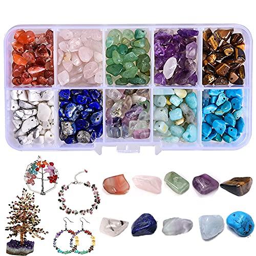 Piedras semipreciosas, perlas, piedras preciosas con agujero, 10 colores, 150 g, piedras curativas naturales, piedras preciosas curativas, perlas para joyas, pendientes, manualidades, artesanía