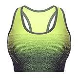 Libella Mujer Sujetador Deportivo Push Up Bustier con Amplio Correas Fitness Yoga Camisetas Sin Mangas 3738 Amarillo S/M
