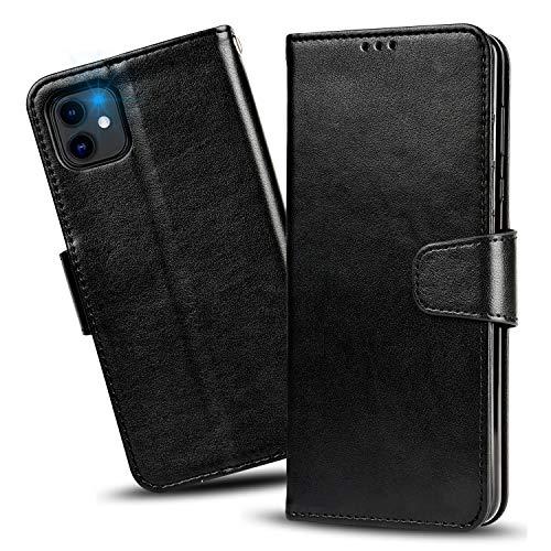 iPhone 12 Pro ケース/iPhone 12 ケース 手帳型 - スマホケース iPhone12Pro/ iPhone12 【横置き機能 ストラップ付き カードポケット付き】 Arae アイフォン12 プロ/12 2020新型 適応用 財布型 ケース カバー (ブラック)
