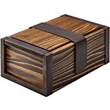Vintage Wooden Stash Box with Rolling Tray for Herbs and Accessories - Raw Leather & Wood Combo - Handcrafted in Europe - Great Storage Organizer for Herb Grinder