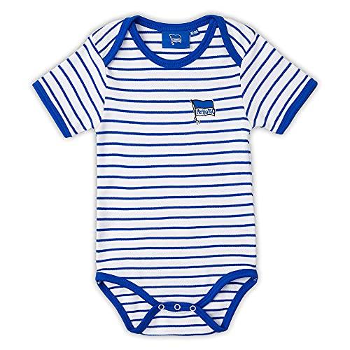 Hertha BSC Berlin Baby Body - blau-weiß Logo - Kurzarm Bodie, Baby Bodysuit - Plus Lesezeichen I Love Berlin Größe 50/56