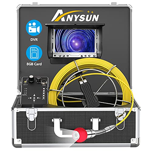Sewer Camera,165ft Plumbing Drain Camera with DVR 50M Cable Industrial Endoscope Waterproof IP68 Cable Snake Video System with 7 Inch LCD Monitor 1000TVL Sony CCD DVR Recorder (50M-DVR)