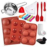 [193pcs Complete Silicone Mold Set] - This set includes silicone semi sphere chocolate molds,measuring spoon,chocolate candy melting pot, icing spatula,silicone spoon and brush,disposable bags,glove,cupcake liners and mousse cake board etc. A perfect...