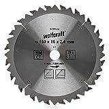 Wolfcraft 6739000 1 Lame de Scie Circulaire Ø 160 Mm, Ct, Alésage 16 Mm, 20 Dents, Surface Poncée, Denture Sablée Et Alternée