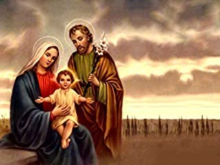 Holy Family -Oil Painting On Canvas Modern Wall Art Pictures For Home Decoration Wooden Framed (12X16 Inch, Framed)