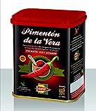 Pimentón de la Vera Ahumado, Picante en Lata de 75 g, Producto con la Denominación de Origen Protegida D.O.P. Condimento Apto para Celíacos.