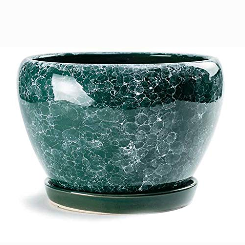 GCX- Bloempot Ceramic bloempot Red cyaan porselein huishouden met dienblad Crystal glazuur Ceramic bloempot Uitstekend (Color : B, Size : L)