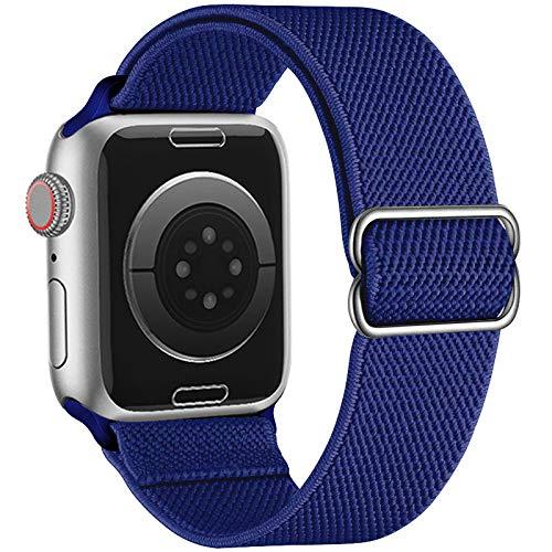 XMUXI Correa elástica elástica de nailon para Apple Watch SE Serie 6/5/4, 40 mm, 44 mm, ajustable, elástica, trenzada