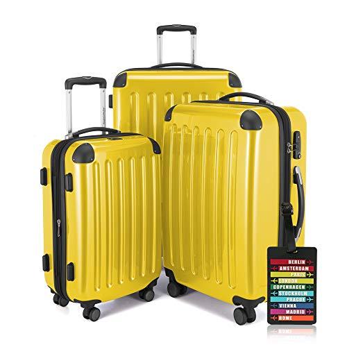 Hauptstadtkoffer - Alex - 3er-Koffer-Set Trolley-Set Rollkoffer Reisekoffer-Set Erweiterbar, Zahlenschloss, 4 Rollen, (S, M & XL), Gelb +Design Kofferanhänger