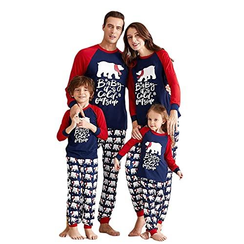TMOYJPX Pijama Navidad Familia Conjunto Hombre Mujer Niño Bebe, Pijamas Familiares Iguales a Juego - Pijamas Navideños Pareja Divertido Ropa de Dormir Invierno (Oso Polar/Niños, 12-13 años)