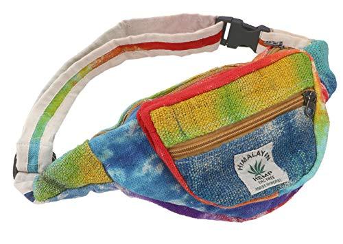 GURU SHOP Praktische Hanf Gürteltasche, Batik Ethno Bauchtasche, Sidebag - Batik Bunt, Herren/Damen, Mehrfarbig, Size:One Size, 15x20 cm, Festival- Bauchtasche Hippie