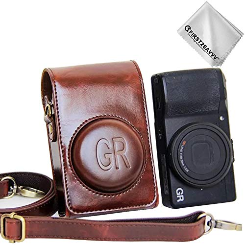 First2savvv PU Premium Quality Leather Camera case Pouch Bag with Shoulder Strap for Ricoh GR III GR II GR XJD-GRII-10