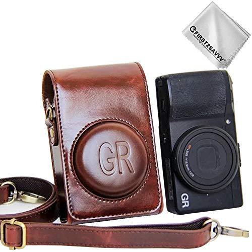 First2savvv Dunkelbraun Premium Qualität Ganzkörper- präzise Passform PU-Leder Kameratasche Fall Tasche Cover für Ricoh GR III GR II GR