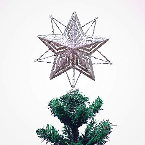 Valery Madelyn Estrella de Cinco Puntas Árbol de Navidad, 28cm Adornos Copa del árbol de Navidad de Metal con 10 Luces LED Cálidas, Decoraciones de Navidad Funciona con Batería No Incluida