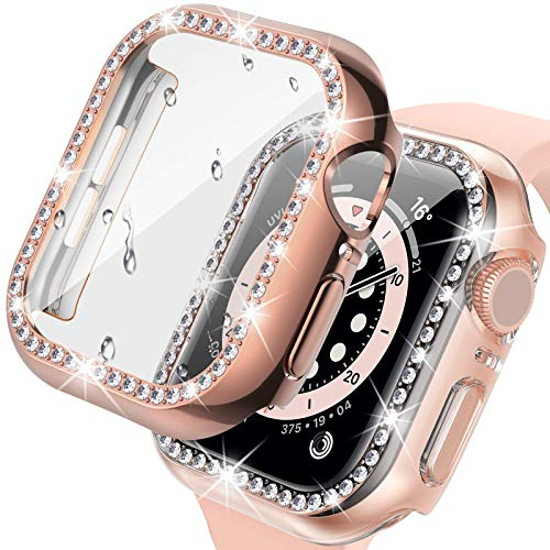 Capa para Apple Watch da Tensea com protetor de tela de 44 mm, 40 mm, 38 mm, 42 mm, SE Series 6 5 4 3 2 1 Bling Diamond Face Cover com película de vidro temperado, bumper iWatch Women Girl (CL-RG, 40)
