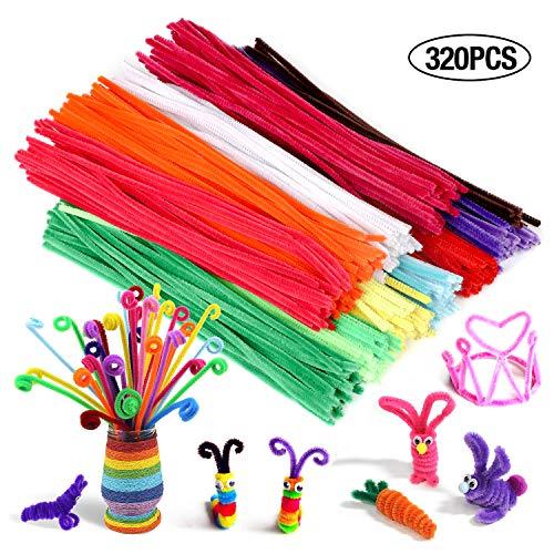 Acerich 1001pcs Craft Supplies Assortment Set, 600pcs Multicolor Pipe Cleaners, 100pcs Assorted Colors Pom Poms, 100pcs Craft Sticks, 100pcs Colorful Buttons, 100pcs Wiggle Googly Eyes & 1pcs Scissors