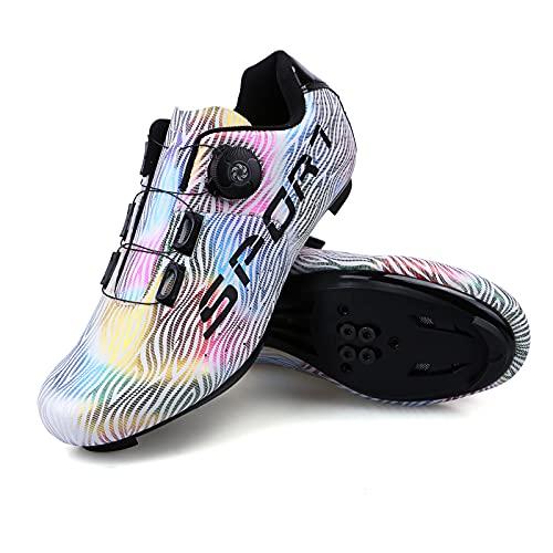 Donne Scarpe Ciclismo Uommo Scarpe MTB Scarpeda Bici Traspirante Scarpe per Mountain Bike Taglia 43 Colore Bianco con Scatola da Scarpe Fibbia Girevole per Scarpe