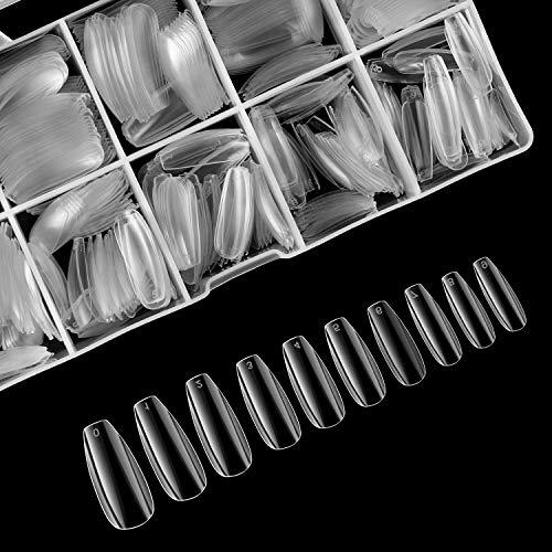 Coffin Fake Nails, iBealous False Nail Full Cover Clear Ballerina 500...