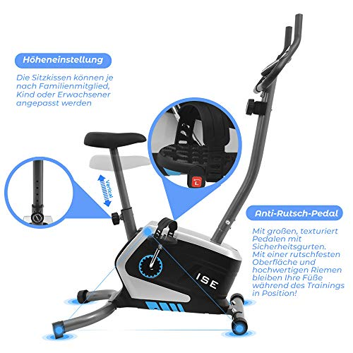 ISE Fahrrad Ergometer Fitness Heimtrainer mit Pulssensoren SY-8801 - 5