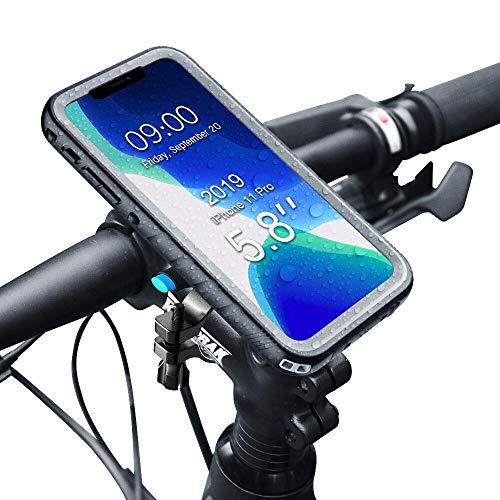 SPORTLINK Handyhalterung Fahrrad mit wasserdichte Hülle für iPhone 11 Pro, Handyhalter Motorrad Bike Mount für 20-35 mm Lenker (5,8 Zoll)