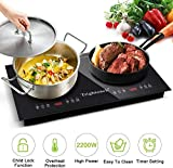 Trighteach Portable Induction Cooktop(Double Countertop Burner) 2200W Electric Stove with Digital Touch Sensor
