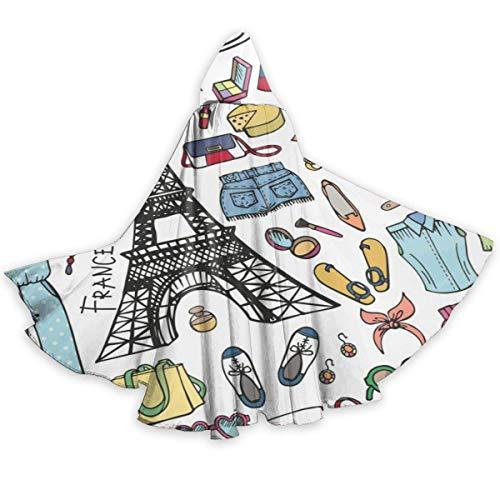 Pars, Francia, Capa para Adultos de la Torre Eiffel, Disfraz de Cosplay de Halloween, Capa Larga Neutral, Capa Larga de 59 Pulgadas