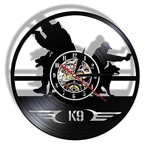 Tbqevc Reloj Decorativo de Perro policía Militar, Reloj de Pared de Vinilo Vintage con decoración artística, Regalo Ideal para niños de 12 Pulgadas