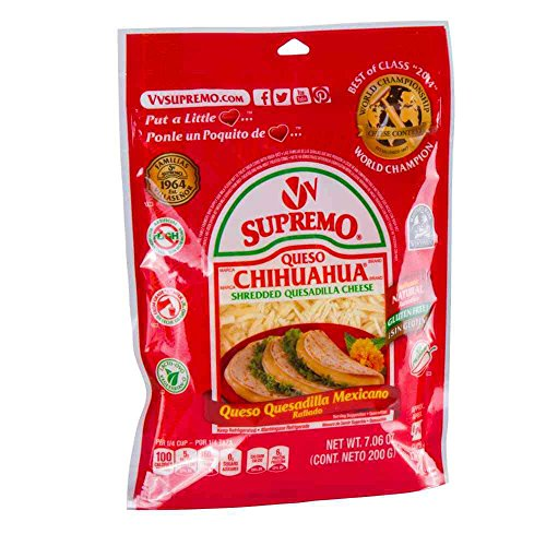 Supremo Queso Chihuahua Shredded Quesadilla Cheese, 7.06 Ounce -- 12 per case.