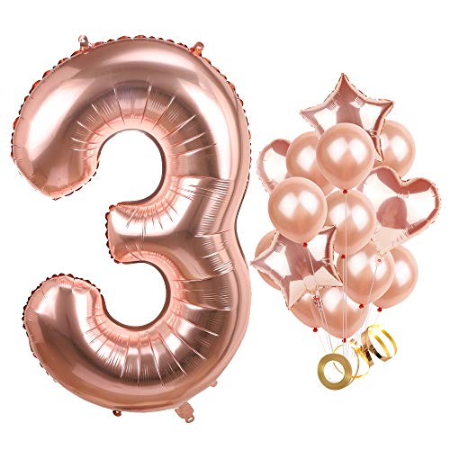 Giant Number 3 Balloon Rose Gold Big Mylar Foil Helium Balloons Jumbo Baby Shower Kit 3rd Birthday Party Decorations Anniversary