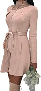 Winwinme Mujeres sólida Slim Plus Outwear Chaqueta Cremallera Cuello Alto de Tiras de Terciopelo