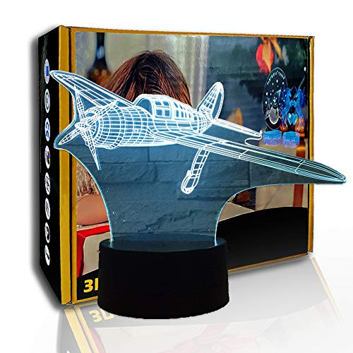JINYI 3D Night Light Propeller Aircraft, LED Illusion Lamp, Sleep Lamp, B - Remote Black Base(7 Color), Lucky Gift, Bedroom Lamp, Party Gift, Illusion Lamp, Room Decor